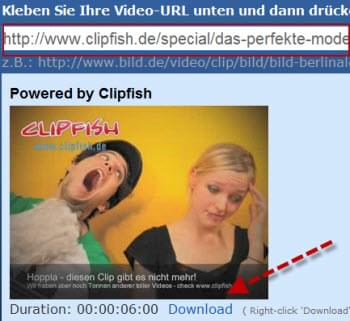 Clipfish Videos runterladen